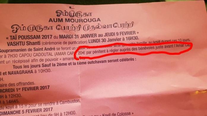 THAIPUSAM CAVADEE 2017 : 20EUROS POUR 'AMAR CAP' À ST-ANDRÉ