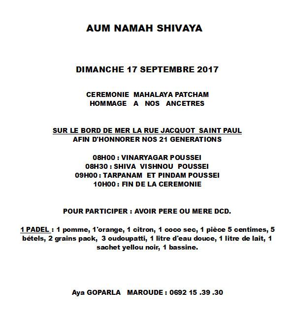 INVITATION POUR LE GRAND MAHALAYA AMAVASAÏ (ST-PAUL)