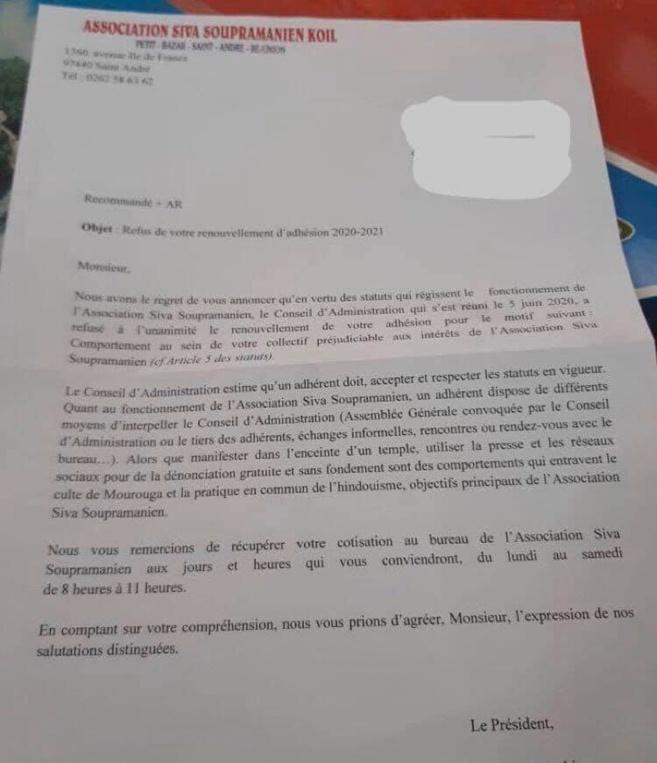 TEMPLE TI-BAZAR : DES REFUS DE RENOUVELLEMENT D'ADHÉSION