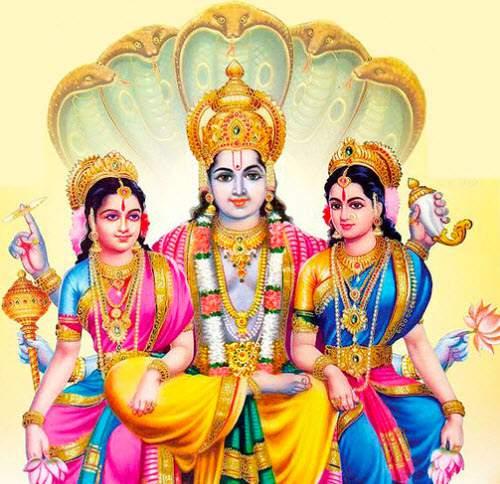 VISHNU AVEC SHRIDEVI ET BHUDEVI