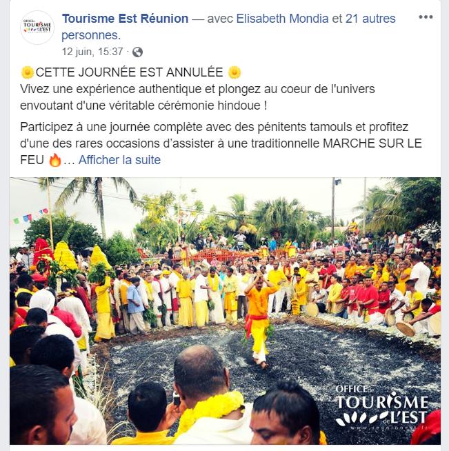 LA MARCHE SUR LE FEU TOURISTIQUE PAYANTE ENFIN ANNULÉ !
