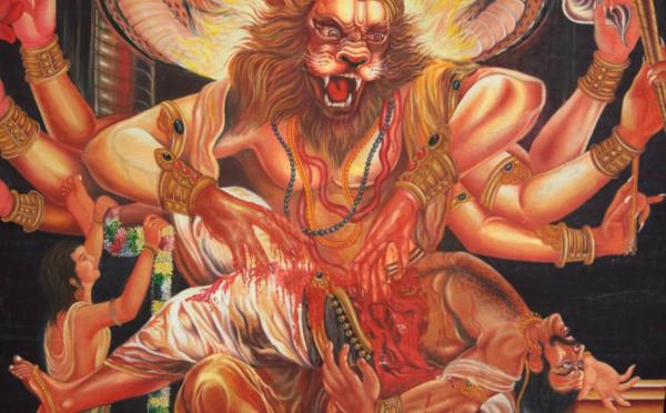 VISHNU À NARASHIMA : HOMME À TÊTE DE LION